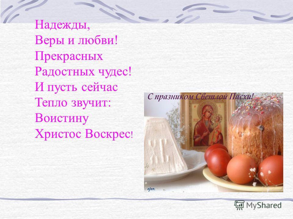 Надежды, Веры и любви! Прекрасных Радостных чудес! И пусть сейчас Тепло звучит: Воистину Христос Воскрес !