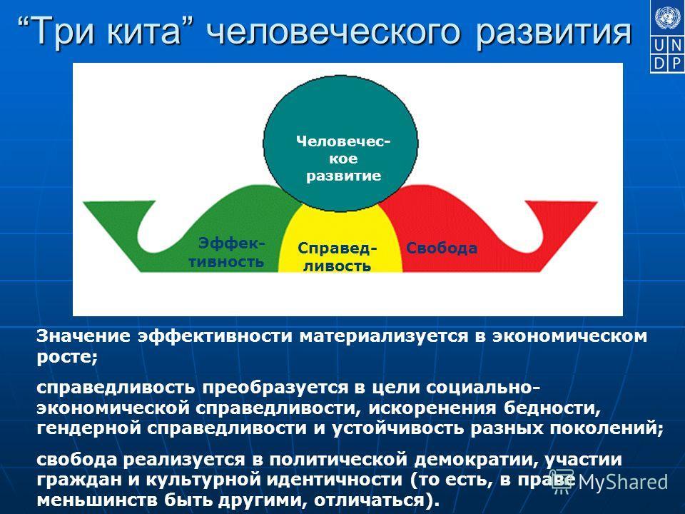 Три кита человеческого развития Три кита человеческого развития Эффек- тивность Справед- ливость Свобода Человечес- кое развитие Значение эффективности материализуется в экономическом росте; справедливость преобразуется в цели социально- экономическо