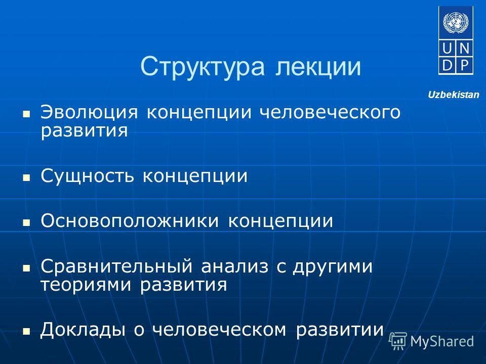 Структура лекции Эволюция концепции человеческого развития Сущность концепции Основоположники концепции Сравнительный анализ с другими теориями развития Доклады о человеческом развитии Uzbekistan