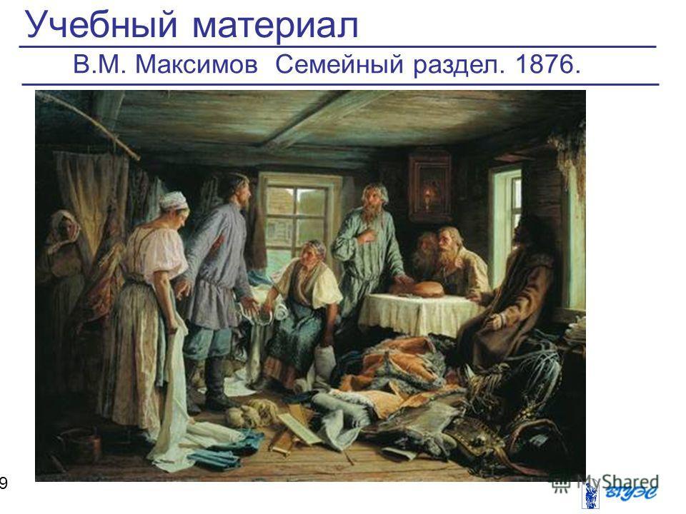Учебный материал 9 В.М. Максимов Семейный раздел. 1876.