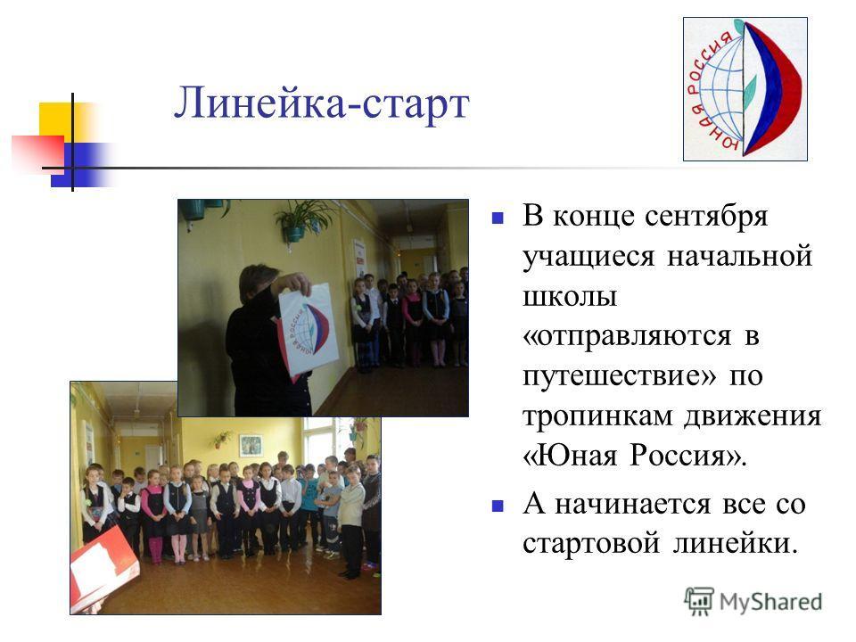 Линейка-старт В конце сентября учащиеся начальной школы «отправляются в путешествие» по тропинкам движения «Юная Россия». А начинается все со стартовой линейки.