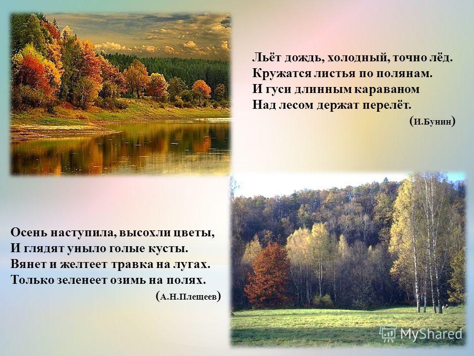 Осень наступила, высохли цветы, И глядят уныло голые кусты. Вянет и желтеет травка на лугах. Только зеленеет озимь на полях. ( А.Н.Плещеев ) Льёт дождь, холодный, точно лёд. Кружатся листья по полянам. И гуси длинным караваном Над лесом держат перелё