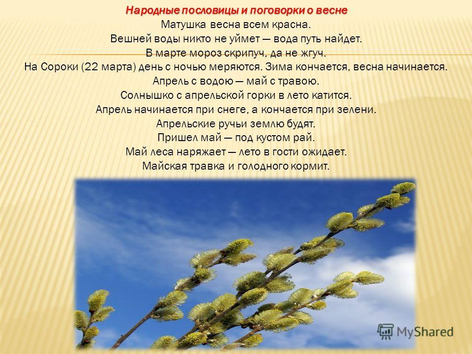 Народные пословицы и поговорки о весне Народные пословицы и поговорки о весне Матушка весна всем красна. Вешней воды никто не уймет вода путь найдет. В марте мороз скрипуч, да не жгуч. На Сороки (22 марта) день с ночью меряются. Зима кончается, весна