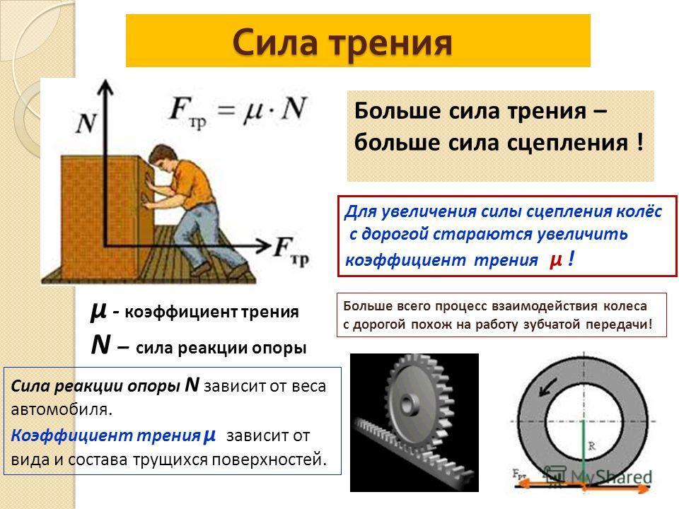 Сила трения Сила трения µ - коэффициент трения N – сила реакции опоры Больше сила трения – больше сила сцепления ! Сила реакции опоры N зависит от веса автомобиля. Коэффициент трения µ зависит от вида и состава трущихся поверхностей. Для увеличения с