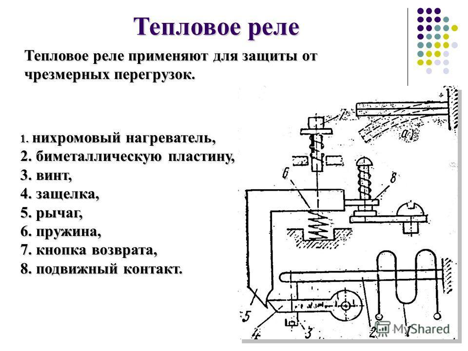 Тепловое реле 1. нихромовыйнагреватель, 1. нихромовый нагреватель, 2. биметаллическую пластину, 2. биметаллическую пластину, 3. винт, 3. винт, 4. защелка, 4. защелка, 5. рычаг, 5. рычаг, 6. пружина, 6. пружина, 7. кнопка возврата, 7. кнопка возврата,