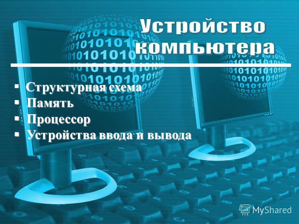 Устройство компьютера Структурная схема Память Память Процессор Процессор Устройства ввода и вывода Устройства ввода и вывода