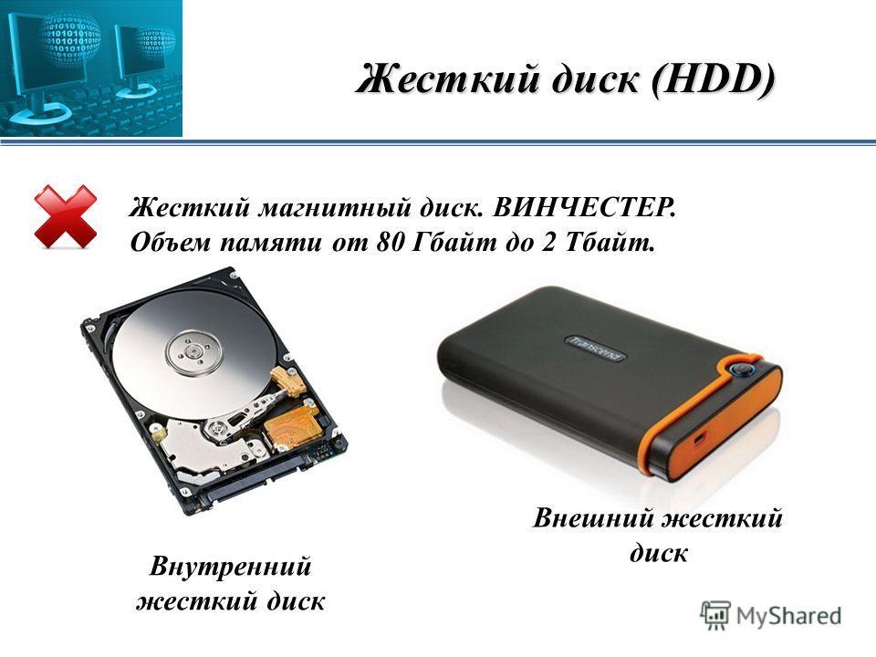 Жесткий диск (HDD) Жесткий магнитный диск. ВИНЧЕСТЕР. Объем памяти от 80 Гбайт до 2 Тбайт. Внешний жесткий диск Внутренний жесткий диск