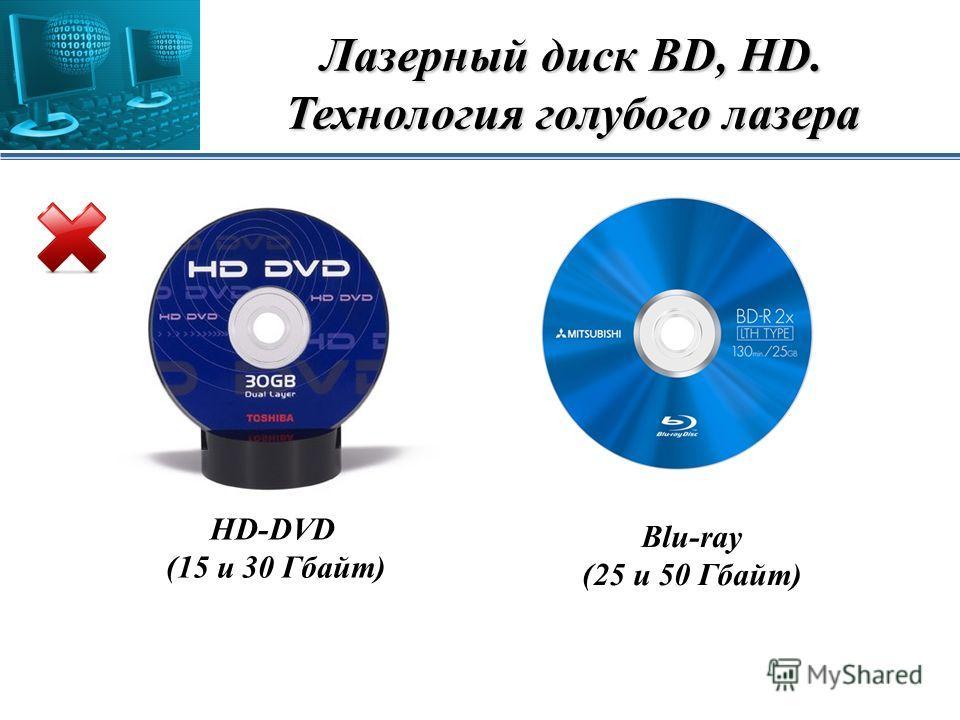 Лазерный диск BD, HD. Технология голубого лазера HD-DVD (15 и 30 Гбайт) Blu-ray (25 и 50 Гбайт)