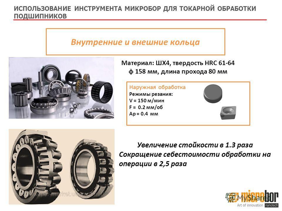 Внутренние и внешние кольца Наружная обработка Режимы резания: V = 150 м/мин F = 0.2 мм/об Ap = 0.4 мм ИСПОЛЬЗОВАНИЕ ИНСТРУМЕНТА МИКРОБОР ДЛЯ ТОКАРНОЙ ОБРАБОТКИ ПОДШИПНИКОВ Материал: ШХ4, твердость HRC 61-64 ф 158 мм, длина прохода 80 мм Увеличение с