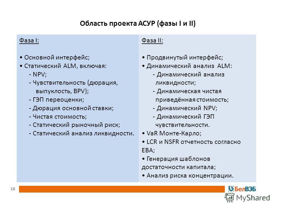 Фаза I: Основной интерфейс; Статический ALM, включая: - NPV; - Чувствительность (дюрация, выпуклость, BPV); - ГЭП переоценки; - Дюрация основной ставки; - Чистая стоимость; - Статический рыночный риск; - Статический анализ ликвидности. Фаза II: Продв