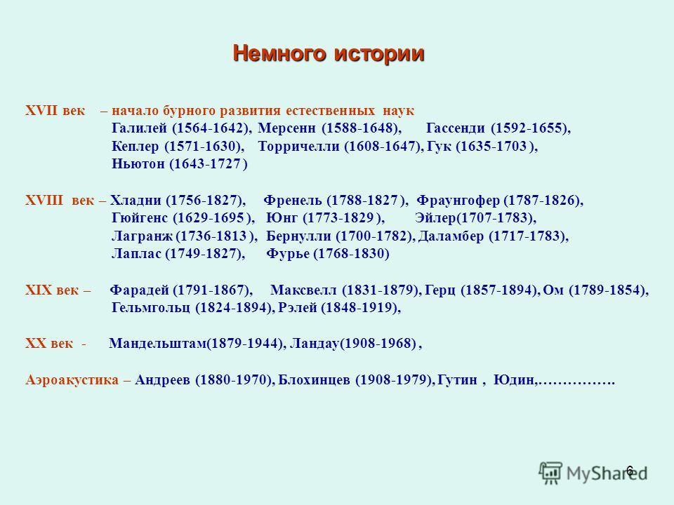 6 XVII век – начало бурного развития естественных наук Галилей (1564-1642), Мерсенн (1588-1648), Гассенди (1592-1655), Кеплер (1571-1630), Торричелли (1608-1647), Гук (1635-1703 ), Ньютон (1643-1727 ) XVIII век – Хладни (1756-1827), Френель (1788-182