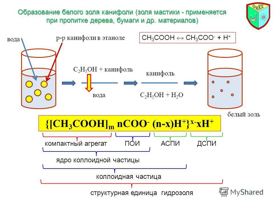 Образование белого золя канифоли (золя мастики - применяется при пропитке дерева, бумаги и др. материалов) р-р канифоли в этаноле вода С 2 Н 5 ОН + канифоль вода канифоль С 2 Н 5 ОН + Н 2 О белый золь СН 3 COOH CH 3 COO - + H + {[CH 3 COOH] m nCOO -