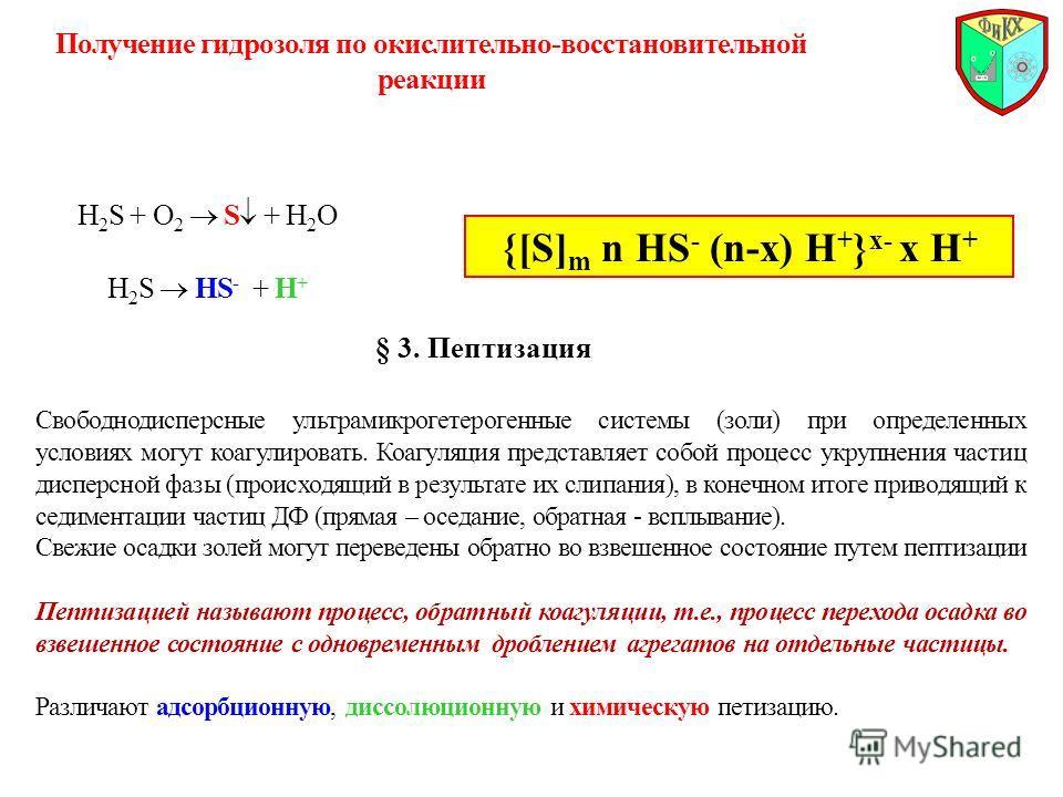 Получение гидрозоля по окислительно-восстановительной реакции H 2 S + O 2 S + H 2 O H 2 S HS - + H + {[S] m n HS - (n-x) H + } x- x H + § 3. Пептизация Свободнодисперсные ультрамикрогетерогенные системы (золи) при определенных условиях могут коагулир