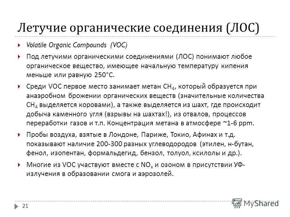 Летучие органические соединения ( ЛОС ) Volatile Organic Compounds (VOC) Под летучими органическими соединениями ( ЛОС ) понимают любое органическое вещество, имеющее начальную температуру кипения меньше или равную 250° С. Среди VOC первое место зани