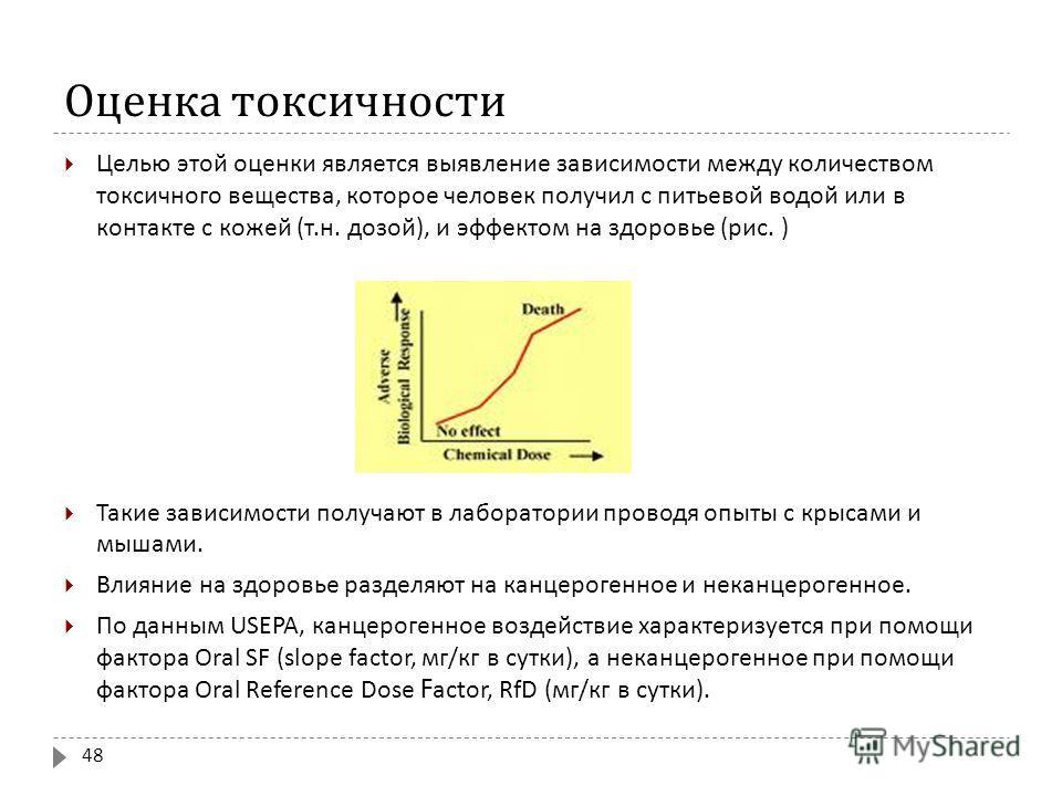 Оценка токсичности Целью этой оценки является выявление зависимости между количеством токсичного вещества, которое человек получил с питьевой водой или в контакте с кожей ( т. н. дозой ), и эффектом на здоровье ( рис. ) Такие зависимости получают в л