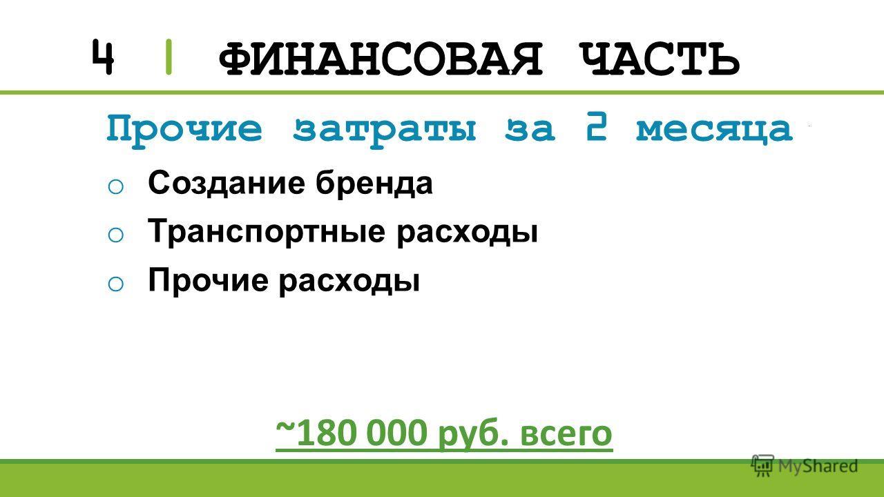 4 | ФИНАНСОВАЯ ЧАСТЬ Прочие затраты за 2 месяца o Создание бренда o Транспортные расходы o Прочие расходы ~180 000 руб. всего