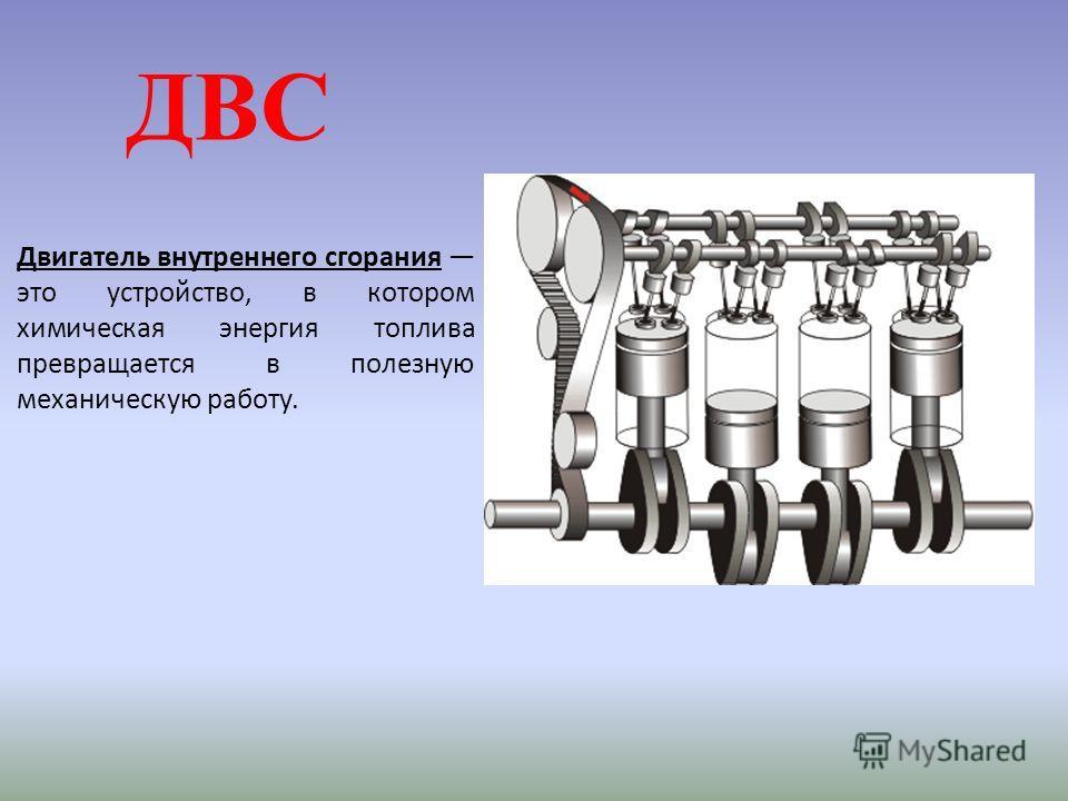 ДВС Двигатель внутреннего сгорания это устройство, в котором химическая энергия топлива превращается в полезную механическую работу.