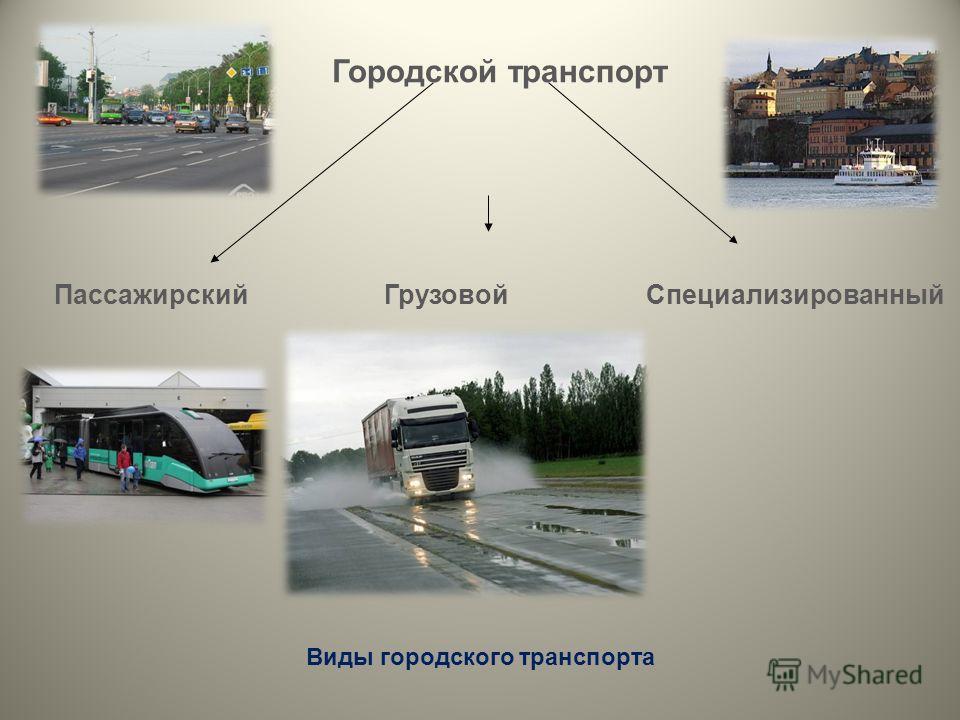 Городской транспорт Пассажирский Грузовой Специализированный Виды городского транспорта