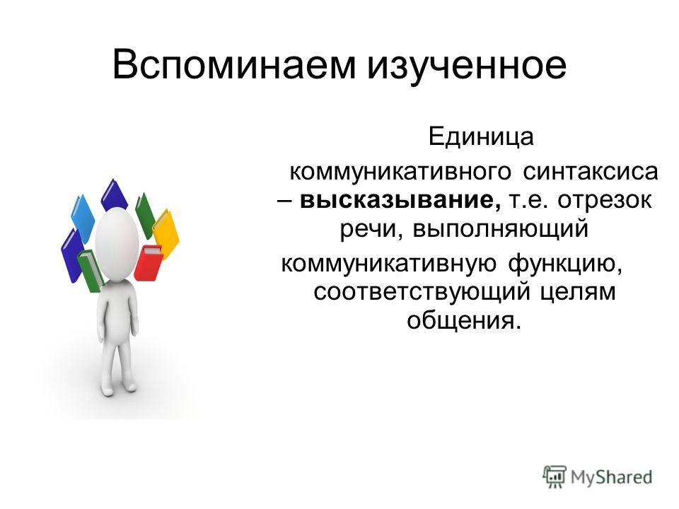 Вспоминаем изученное Единица коммуникативного синтаксиса – высказывание, т.е. отрезок речи, выполняющий коммуникативную функцию, соответствующий целям общения.