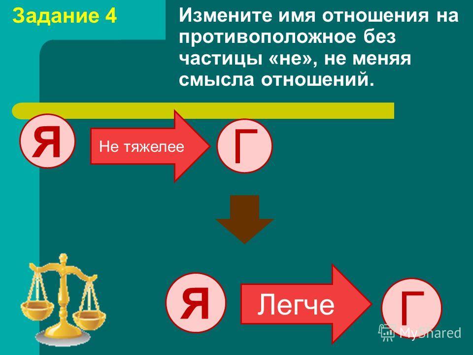 Измените имя отношения на противоположное без частицы «не», не меняя смысла отношений. Г Я Не тяжелее Г Я Легче Задание 4