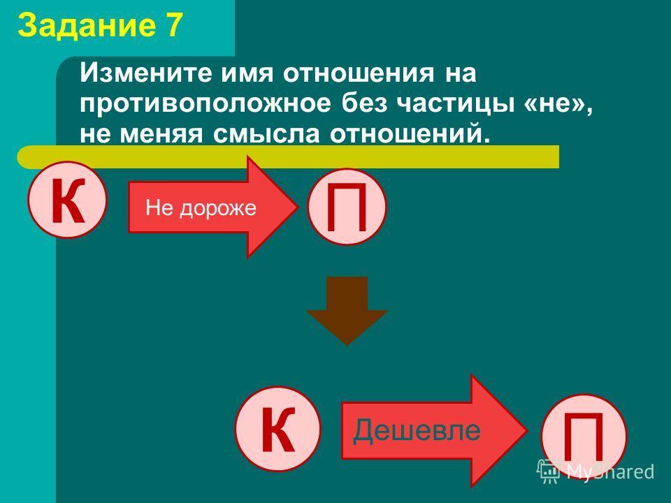 Измените имя отношения на противоположное без частицы «не», не меняя смысла отношений. П К Не дороже П К Дешевле Задание 7