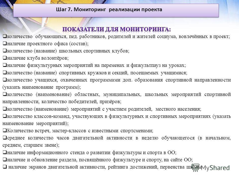 Шаг 7. Мониторинг реализации проекта
