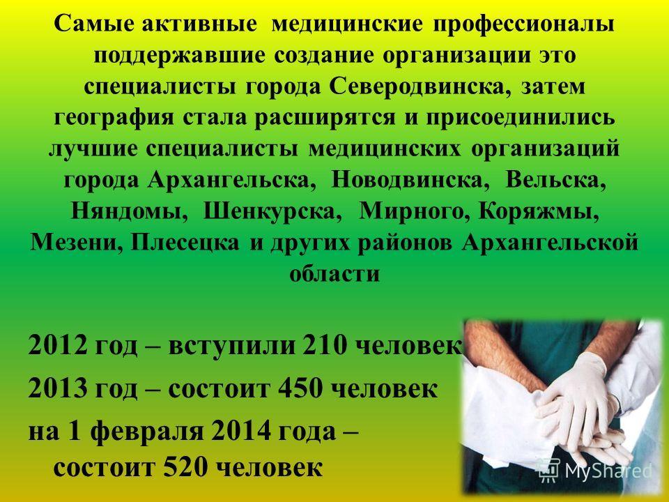 2012 год – вступили 210 человек 2013 год – состоит 450 человек на 1 февраля 2014 года – состоит 520 человек Самые активные медицинские профессионалы поддержавшие создание организации это специалисты города Северодвинска, затем география стала расширя