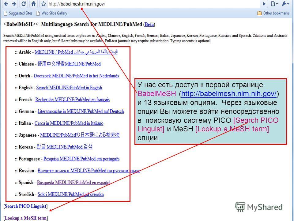У нас есть доступ к первой странице BabelMeSH (http://babelmesh.nlm.nih.gov/) и 13 языковым опциям. Через языковые опции Вы можете войти непосредственно в поисковую систему PICO [Search PICO Linguist] и MeSH [Lookup a MeSH term] опции.http://babelmes
