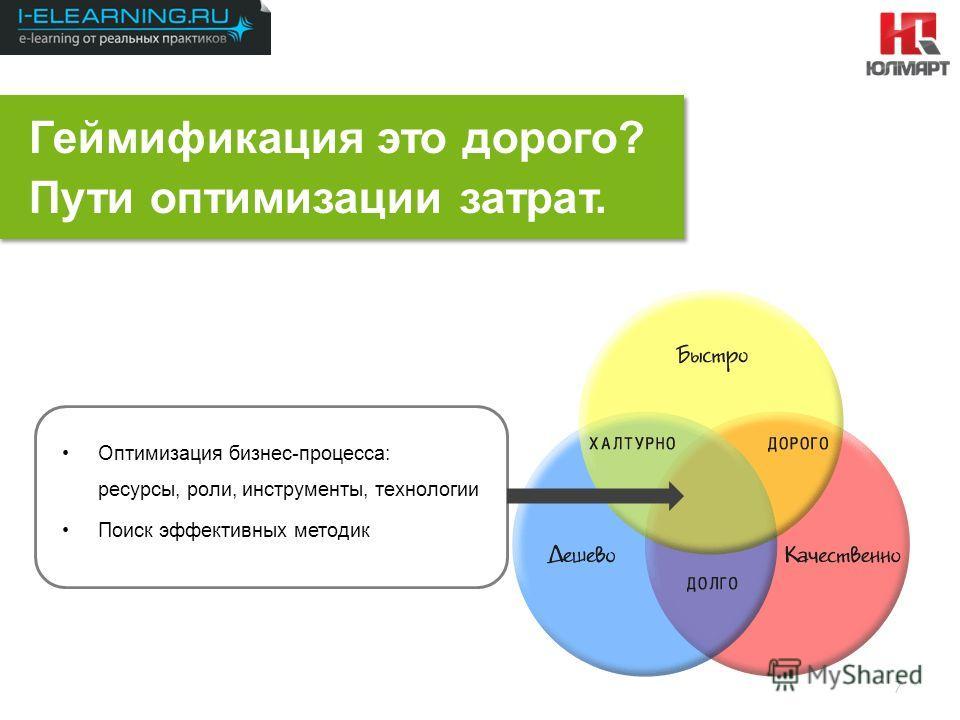 Результаты 2012 7 Геймификация это дорого? Пути оптимизации затрат. Оптимизация бизнес-процесса: ресурсы, роли, инструменты, технологии Поиск эффективных методик