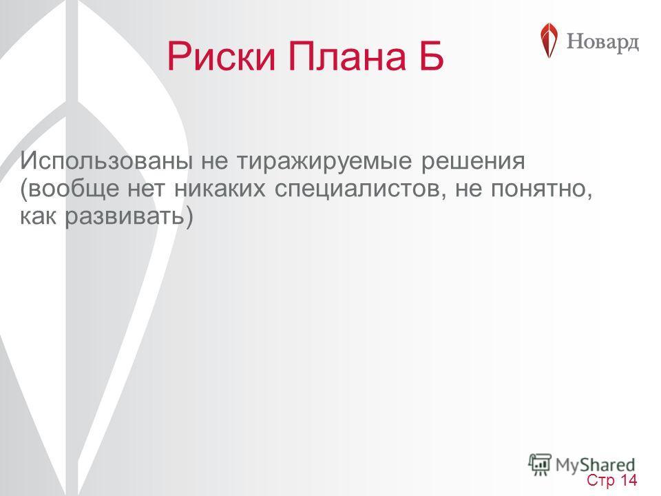 Риски Плана Б Использованы не тиражируемые решения (вообще нет никаких специалистов, не понятно, как развивать) Стр 14
