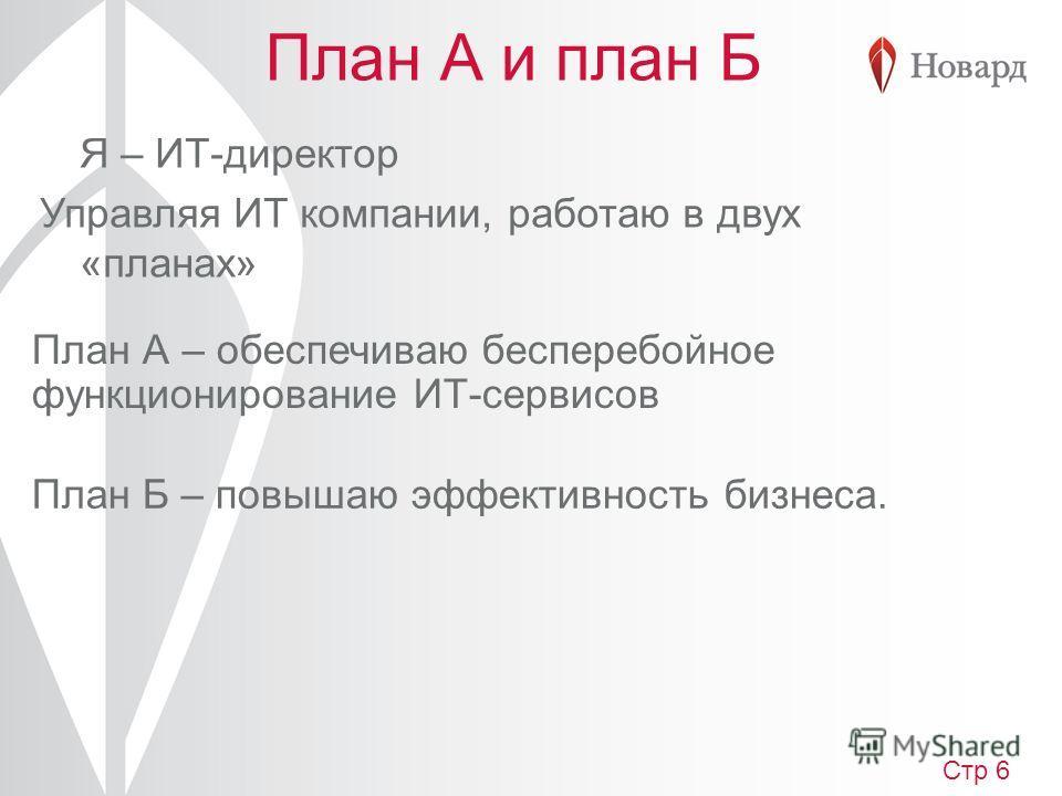 План А и план Б Я – ИТ-директор Управляя ИТ компании, работаю в двух «планах» План Б – повышаю эффективность бизнеса. План А – обеспечиваю бесперебойное функционирование ИТ-сервисов Стр 6