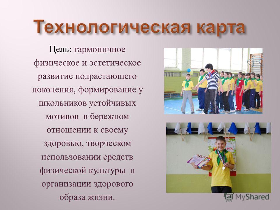 Цель : гармоничное физическое и эстетическое развитие подрастающего поколения, формирование у школьников устойчивых мотивов в бережном отношении к своему здоровью, творческом использовании средств физической культуры и организации здорового образа жи