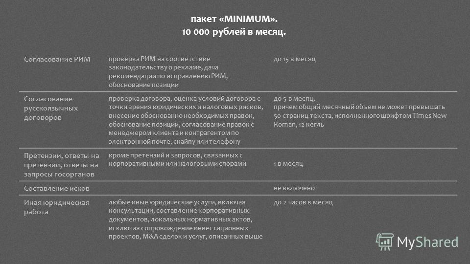 Согласование РИМ проверка РИМ на соответствие законодательству о рекламе, дача рекомендации по исправлению РИМ, обоснование позиции до 15 в месяц Согласование русскоязычных договоров проверка договора, оценка условий договора с точки зрения юридическ