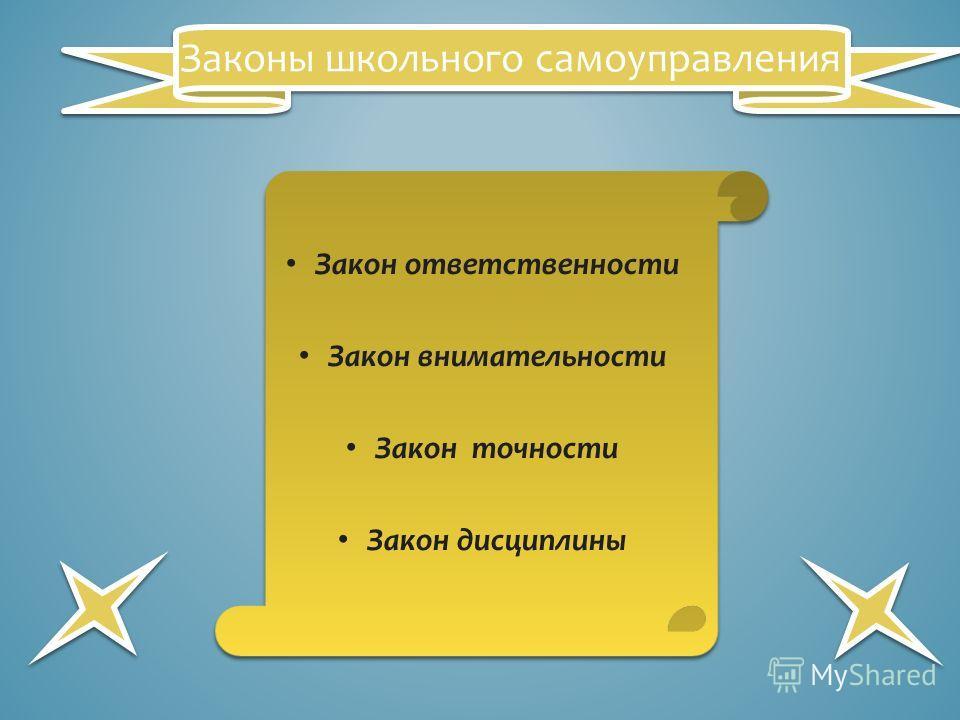 Закон ответственности Закон внимательности Закон точности Закон дисциплины Законы школьного самоуправления