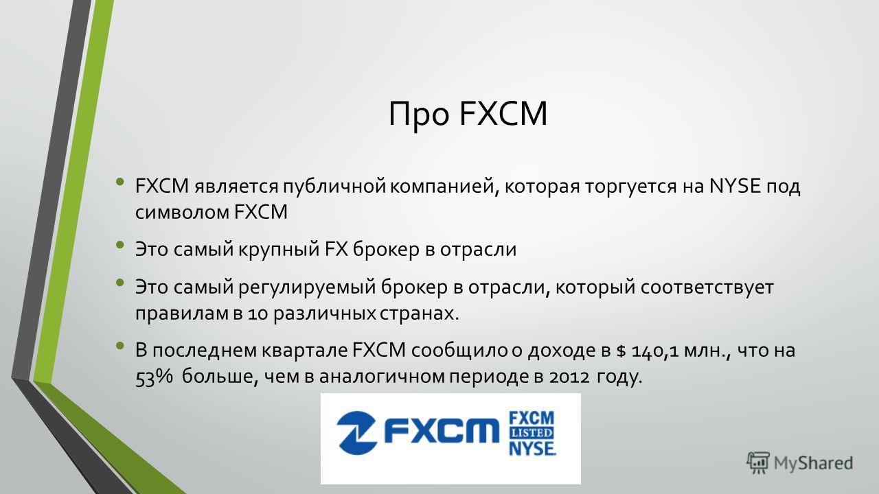 Про FXCM FXCM является публичной компанией, которая торгуется на NYSE под символом FXCM Это самый крупный FX брокер в отрасли Это самый регулируемый брокер в отрасли, который соответствует правилам в 10 различных странах. В последнем квартале FXCM со