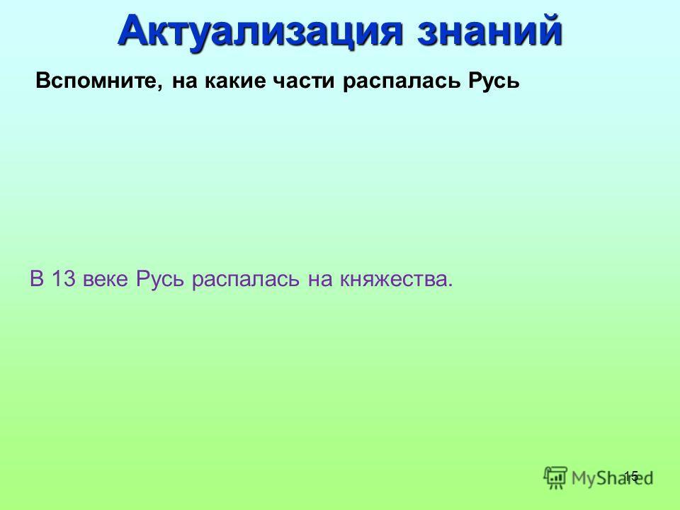 15 Вспомните, на какие части распалась Русь В 13 веке Русь распалась на княжества. Актуализация знаний