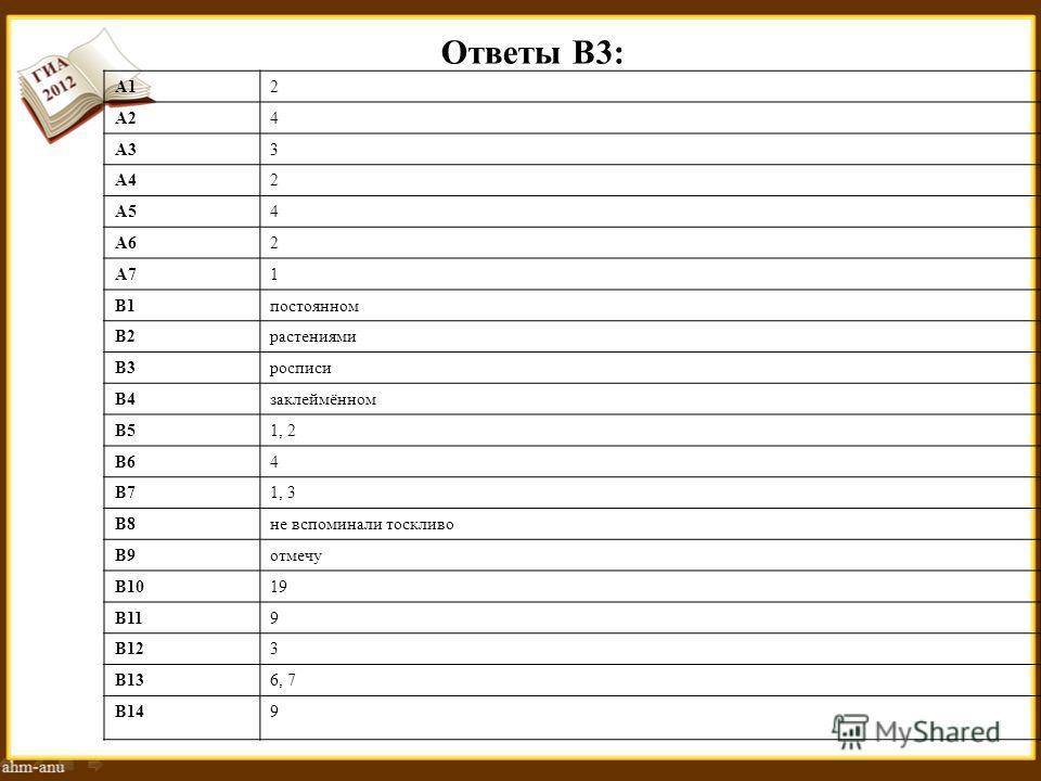 Ответы В3: А12 А24 А33 А42 А54 А62 А71 В1 постоянном В2 растениями В3 росписи В4 заклеймённом В51, 2 В64 В71, 3 В8 не вспоминали тоскливо В9 отмечу В1019 В119 В123 В136, 7 В149