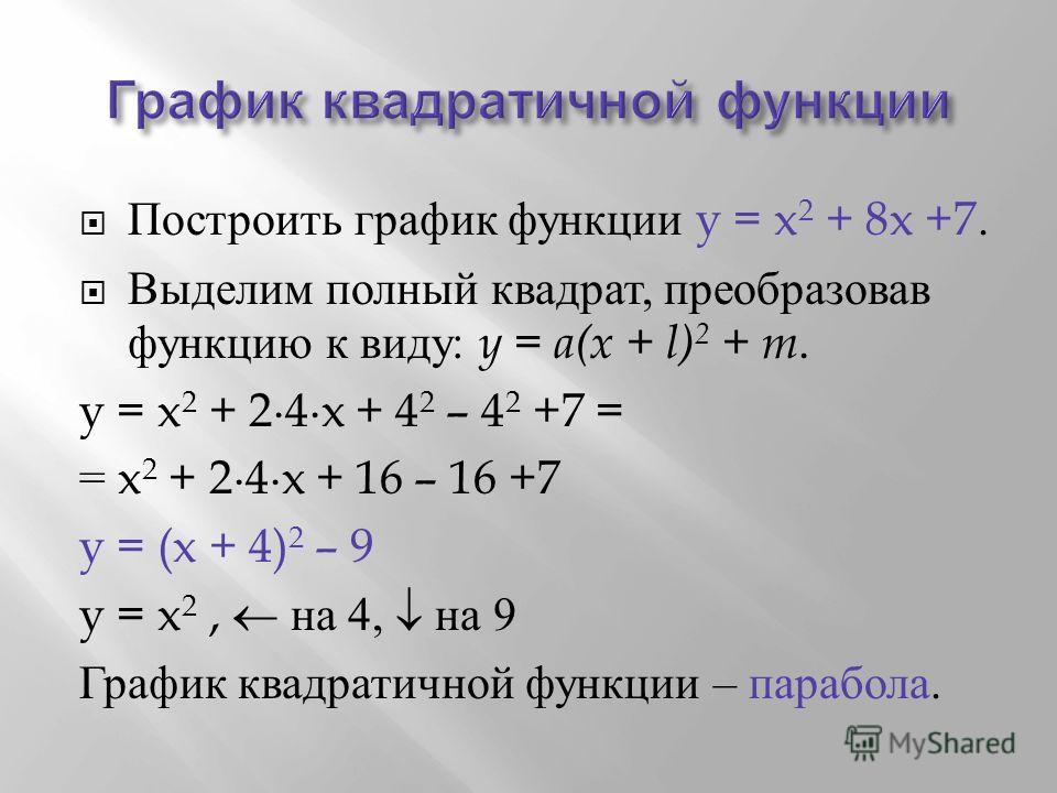 Построить график функции y = x 2 + 8x +7. Выделим полный квадрат, преобразовав функцию к виду : y = a(x + l) 2 + m. y = x 2 + 24x + 4 2 – 4 2 +7 = = x 2 + 24x + 16 – 16 +7 y = (x + 4) 2 – 9 y = x 2, на 4, на 9 График квадратичной функции – парабола.