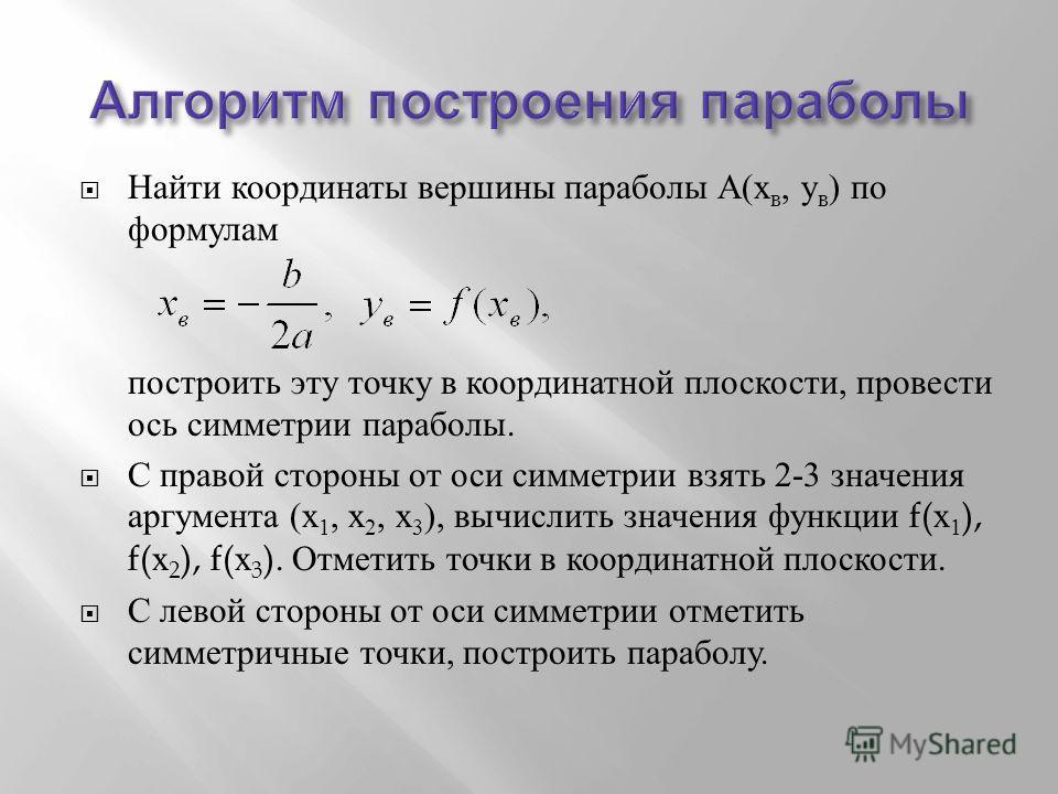 Найти координаты вершины параболы А ( х в, у в ) по формулам построить эту точку в координатной плоскости, провести ось симметрии параболы. С правой стороны от оси симметрии взять 2-3 значения аргумента ( х 1, х 2, х 3 ), вычислить значения функции f