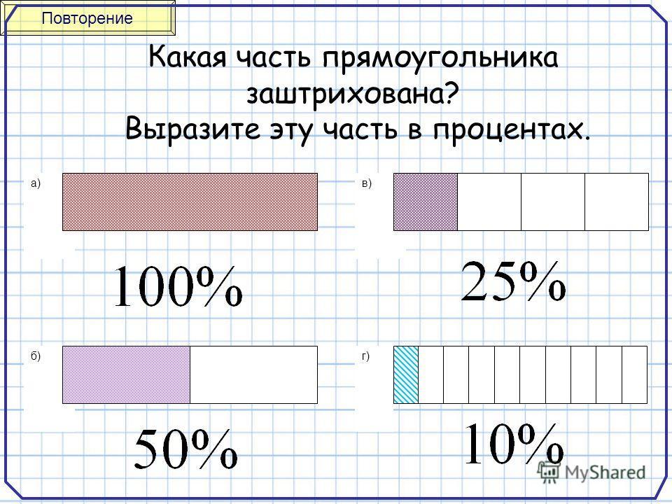 а) б) в) г) Какая часть прямоугольника заштрихована? Выразите эту часть в процентах. Повторение