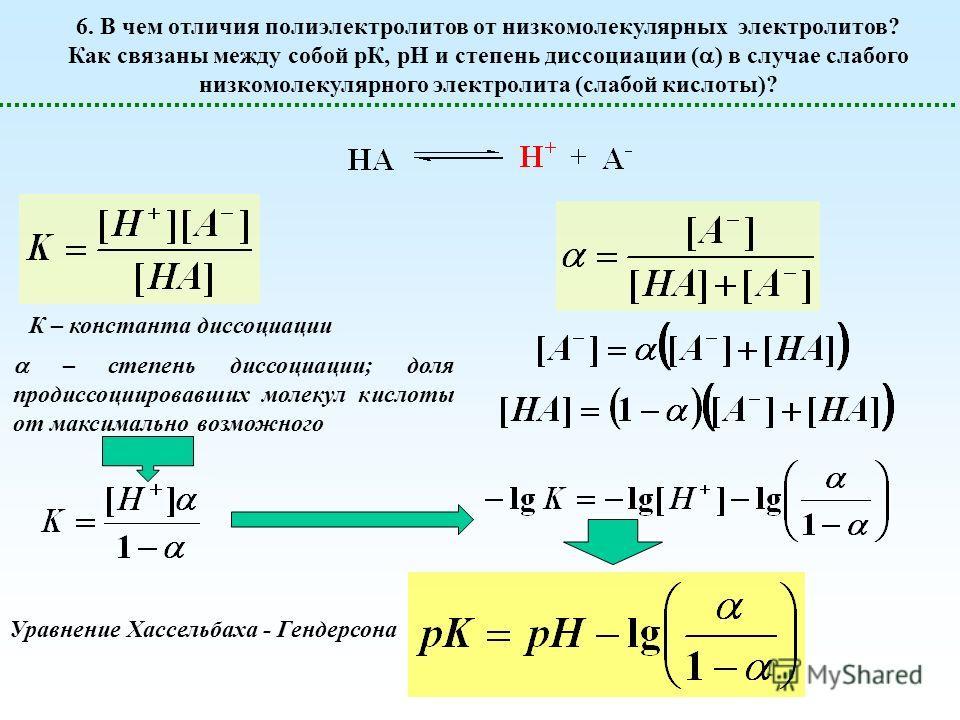 6. В чем отличия полиэлектролитов от низкомолекулярных электролитов? Как связаны между собой рК, рН и степень диссоциации ( ) в случае слабого низкомолекулярного электролита (слабой кислоты)? К – константа диссоциации – степень диссоциации; доля пред