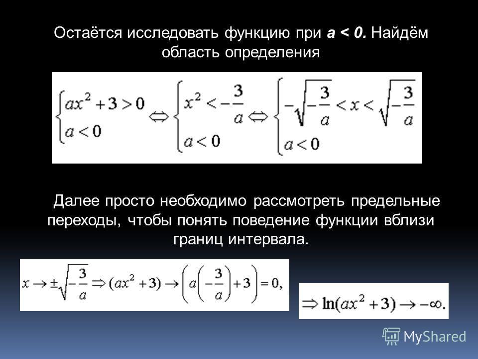 Остаётся исследовать функцию при a < 0. Найдём область определения Далее просто необходимо рассмотреть предельные переходы, чтобы понять поведение функции вблизи границ интервала.