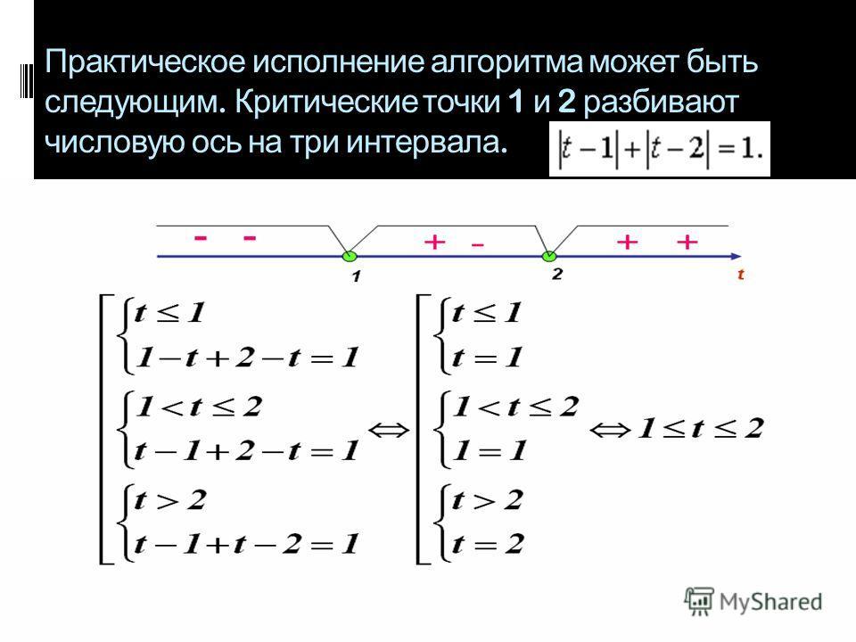 Практическое исполнение алгоритма может быть следующим. Критические точки 1 и 2 разбивают числовую ось на три интервала.