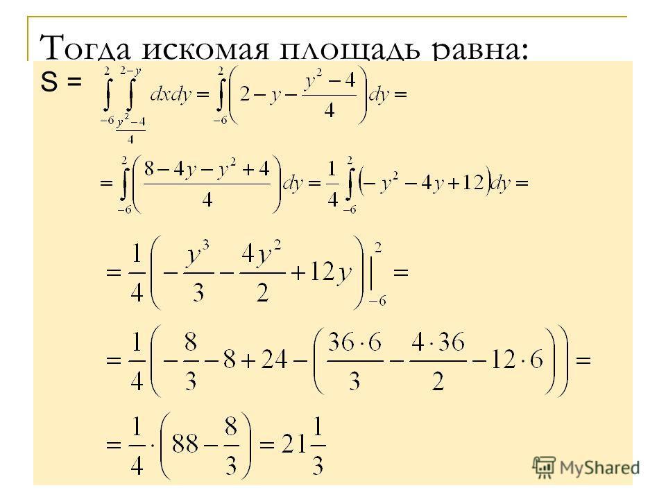 Тогда искомая площадь равна: S =
