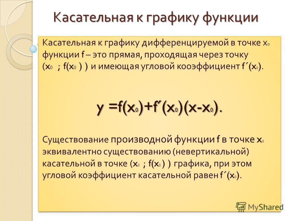 Касательная к графику функции Касательная к графику дифференцируемой в точке х 0 функции f – это прямая, проходящая через точку (x 0 ; f(x 0 ) ) и имеющая угловой коэффициент f ˊ (x 0 ). y =f(x 0 )+f ˊ (x 0 )(x-x 0 ). Существование производной функци