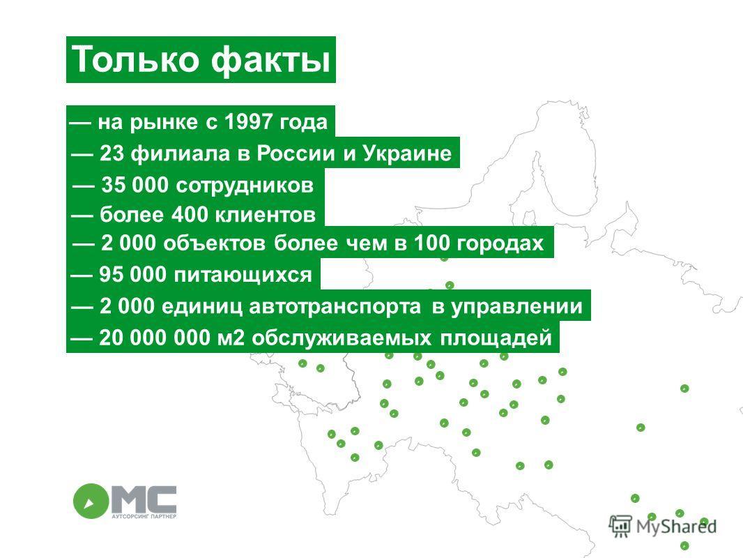 Только факты на рынке с 1997 года 23 филиала в России и Украине более 400 клиентов 95 000 питающихся 35 000 сотрудников 20 000 000 м 2 обслуживаемых площадей 2 000 единиц автотранспорта в управлении 2 000 объектов более чем в 100 городах