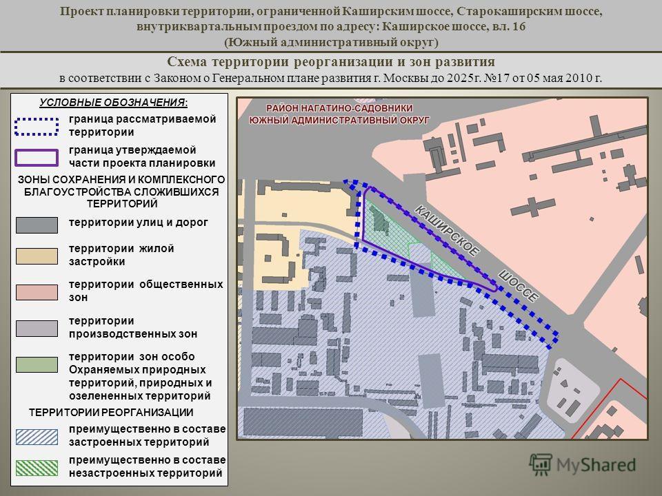 Проект планировки территории, ограниченной Каширским шоссе, Старокаширским шоссе, внутриквартальным проездом по адресу: Каширское шоссе, вл. 16 (Южный административный округ) в соответствии с Законом о Генеральном плане развития г. Москвы до 2025 г.