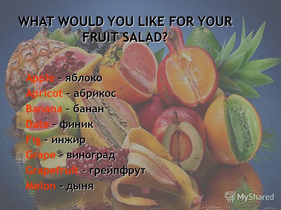 –яблоко Apple – яблоко – абрикос Apricot – абрикос – банан Banana – банан – финик Date – финик – инжир Fig – инжир – виноград Grape – виноград – грейпфрут Grapefruit – грейпфрут - дыня Melon - дыня