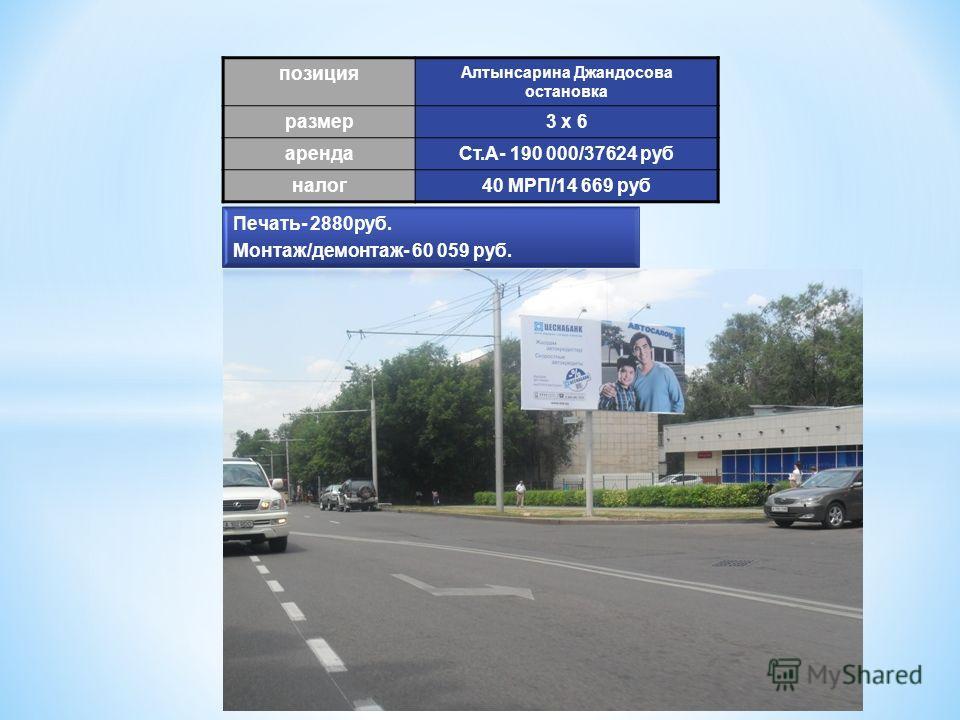 позиция Алтынсарина Джандосова остановка размер 3 х 6 аренда Ст.А- 190 000/37624 руб налог 40 МРП/14 669 руб