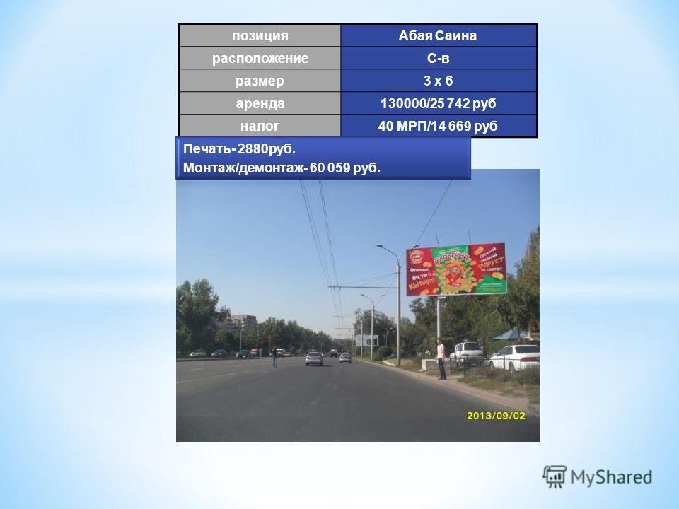 позиция Абая Саина расположениеС-в размер 3 х 6 аренда 130000/25 742 руб налог 40 МРП/14 669 руб